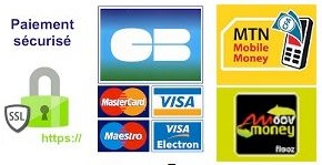Mode de paiement: Carte Bancaire, Mobile Money MTN, Moov Money/Flooz
